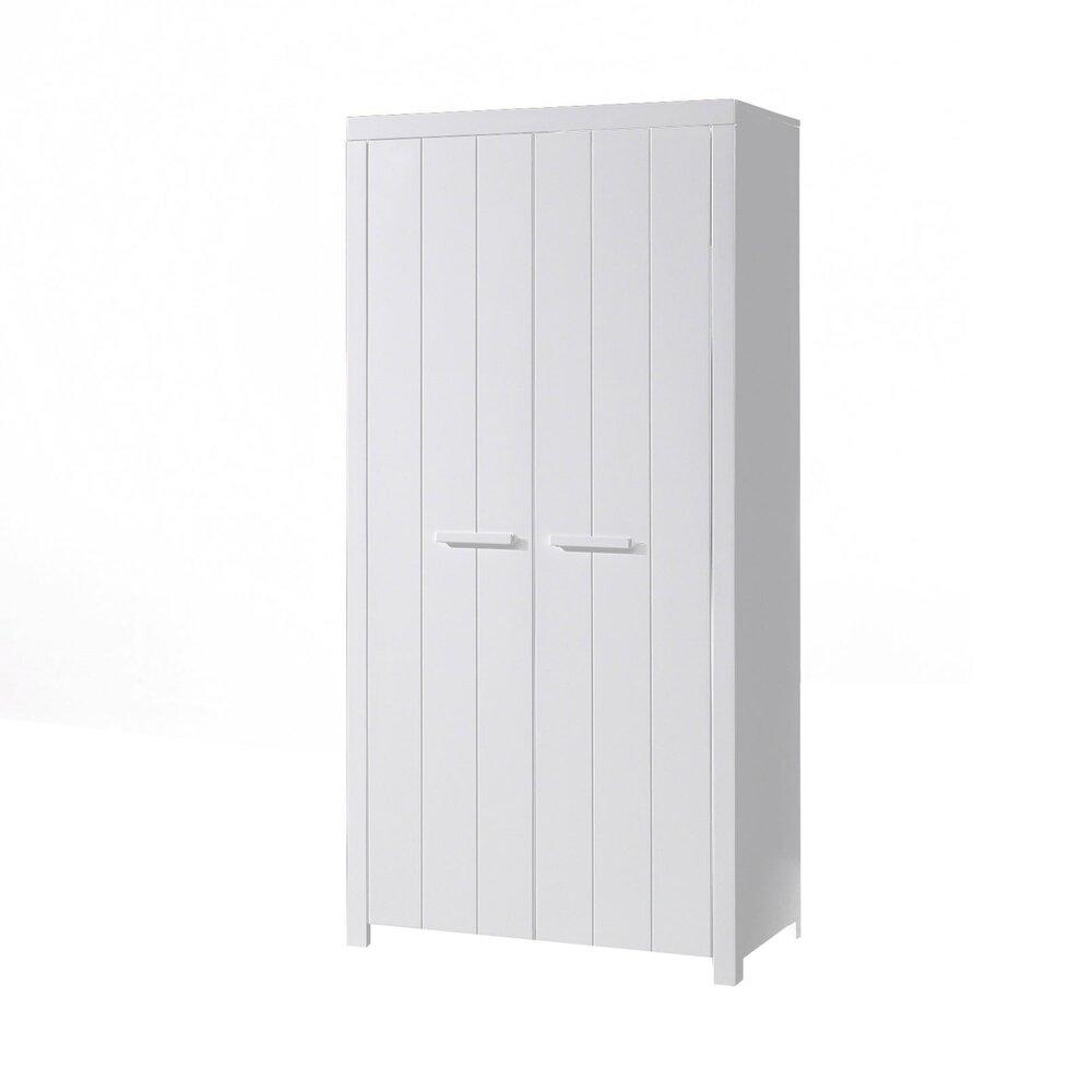 Armoire - Armoire 2 portes 99,5x57x5x205,5 cm en pin blanc - VICKY photo 1