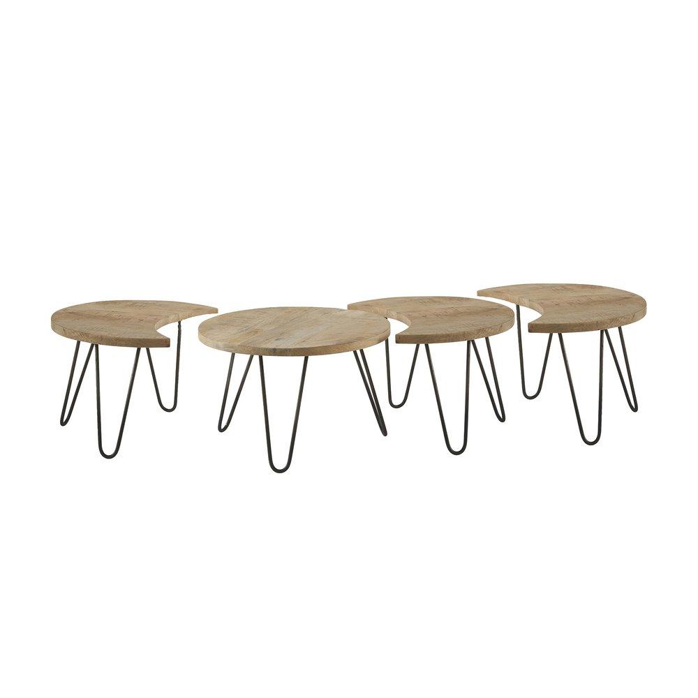 Lot de 4 tables basses rondes 165 5x59x39 cm en manguier nest maison et styles - Table basse en manguier ...