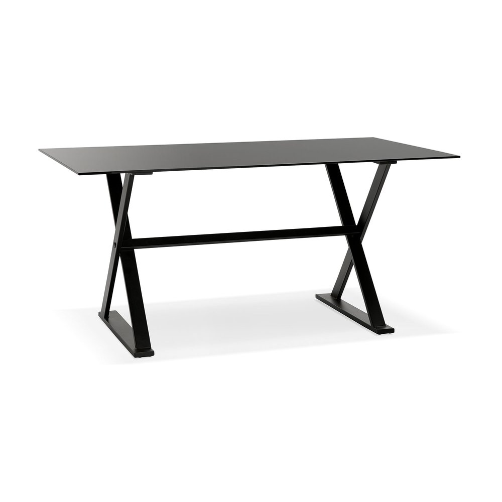 Bureau - Bureau design 160x80x75 cm en verre noir - MAIDY photo 1