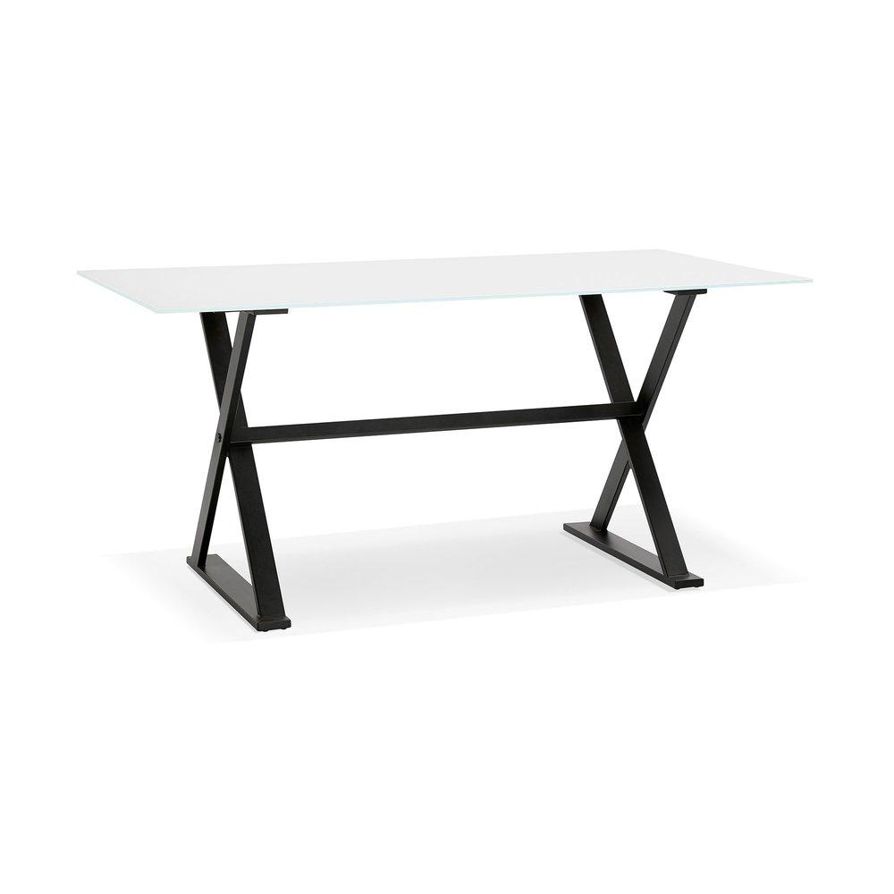 Bureau - Bureau design 160x80x75 cm en verre blanc - MAIDY photo 1