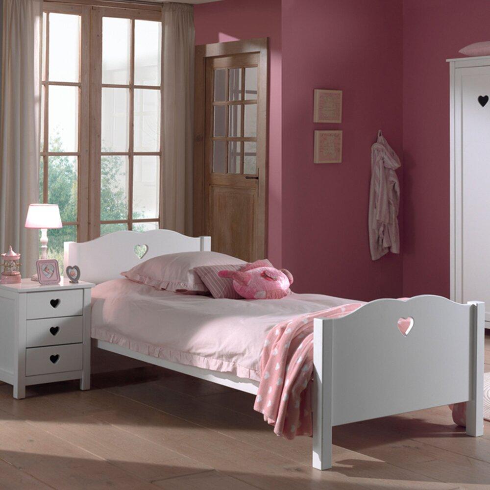 Chambre - Lit 90x200 cm + chevet et armoire en pin blanc - AMORENA photo 1