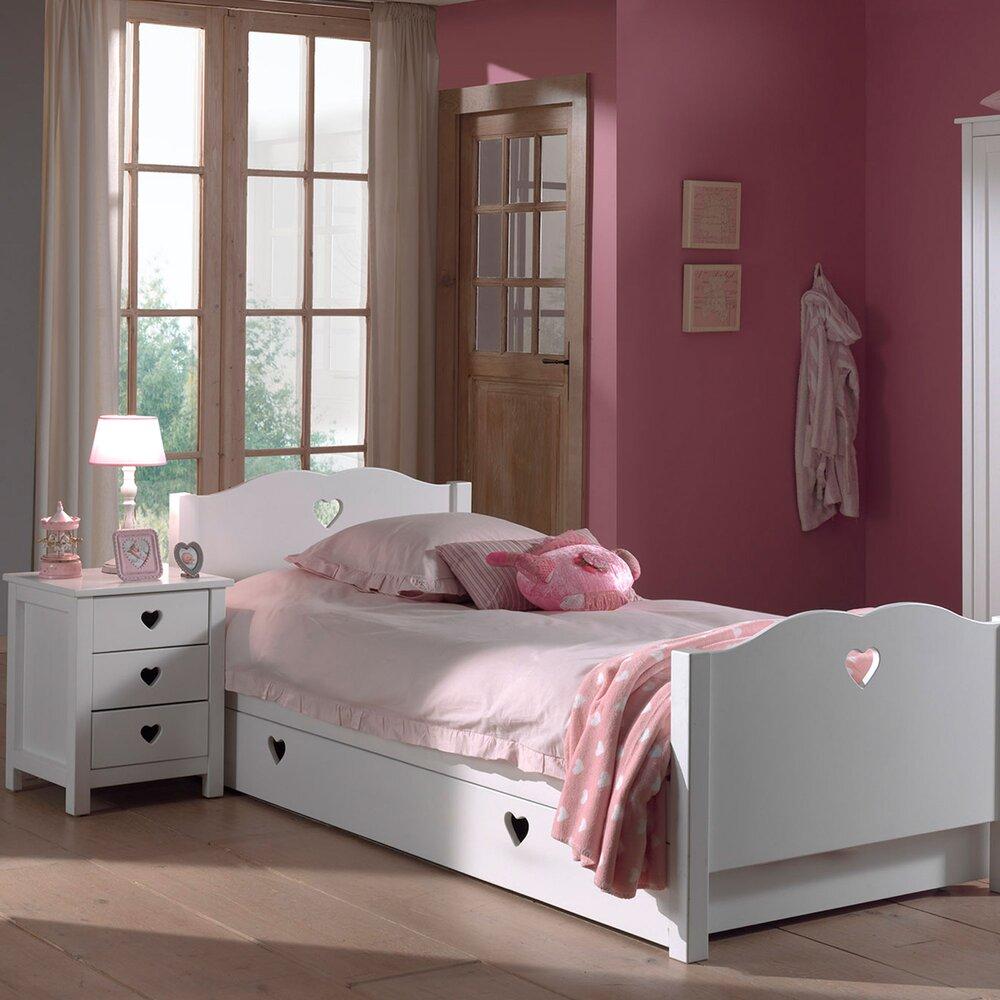 Chambre - Lit avec tiroir + chevet + armoire 2 portes en pin blanc - AMORENA photo 1