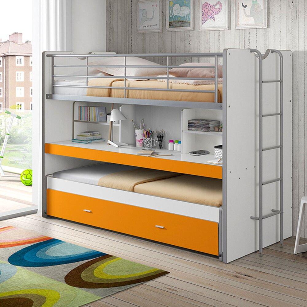 Lit enfant - Lits superposés 3 couchages 90x200 cm blanc et orange - ASSIA photo 1