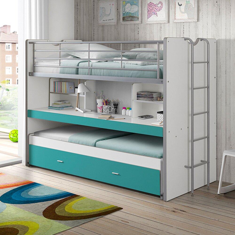 Lit enfant - Lits superposés 3 couchages 90x200 cm blanc et turquoise - ASSIA photo 1