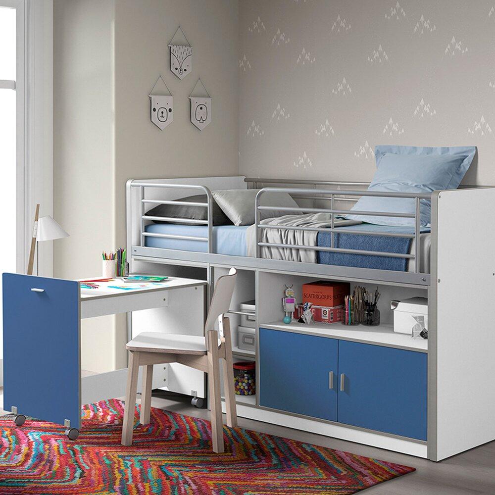 Lit enfant - Lit combiné 90x200 cm avec bureau et rangements bleu - ASSIA photo 1