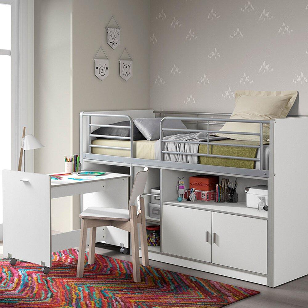 Lit enfant - Lit combiné 90x200 cm avec bureau et rangements blanc - ASSIA photo 1
