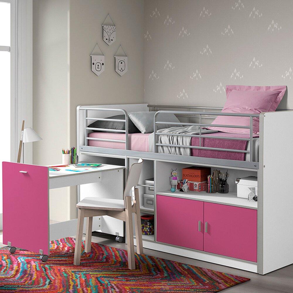 Chambre enfant - Lit combiné 90x200 cm avec bureau et rangements fuchsia - ASSIA photo 1