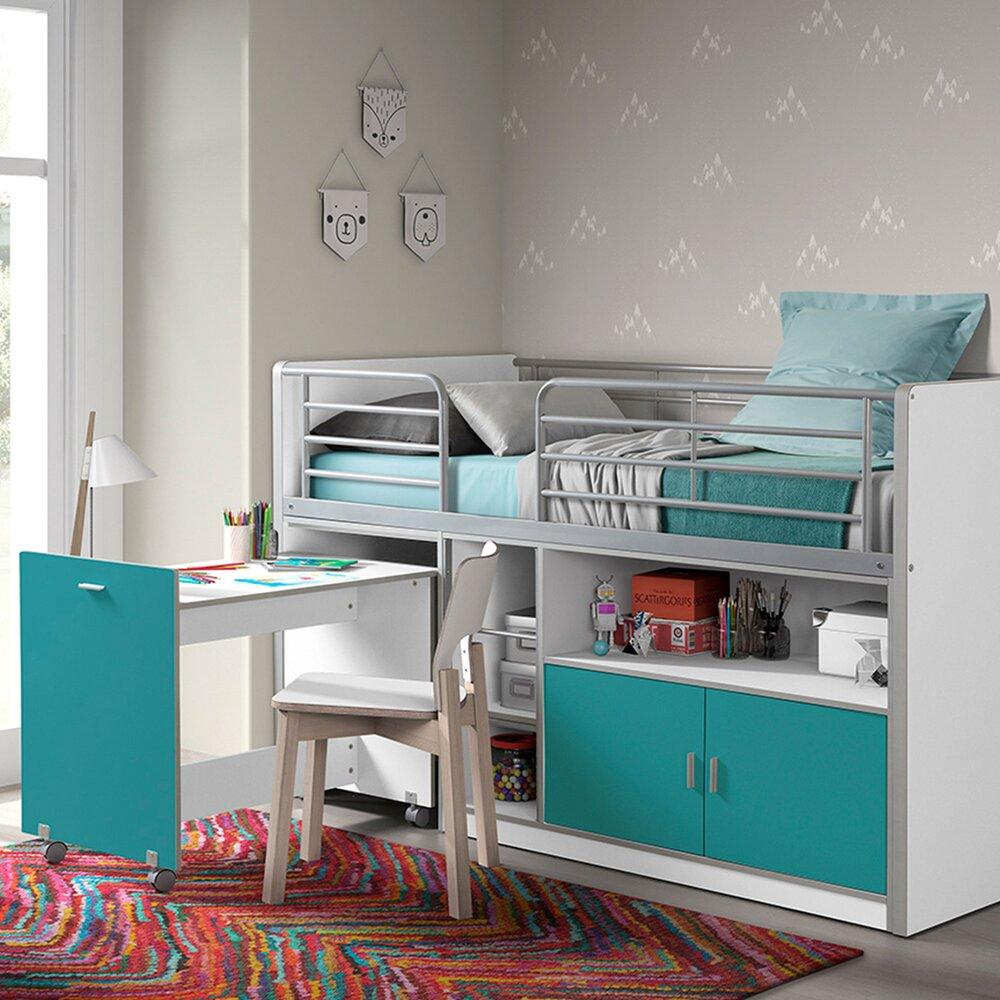 Lit enfant - Lit combiné 90x200 cm avec bureau et rangements turquoise - ASSIA photo 1
