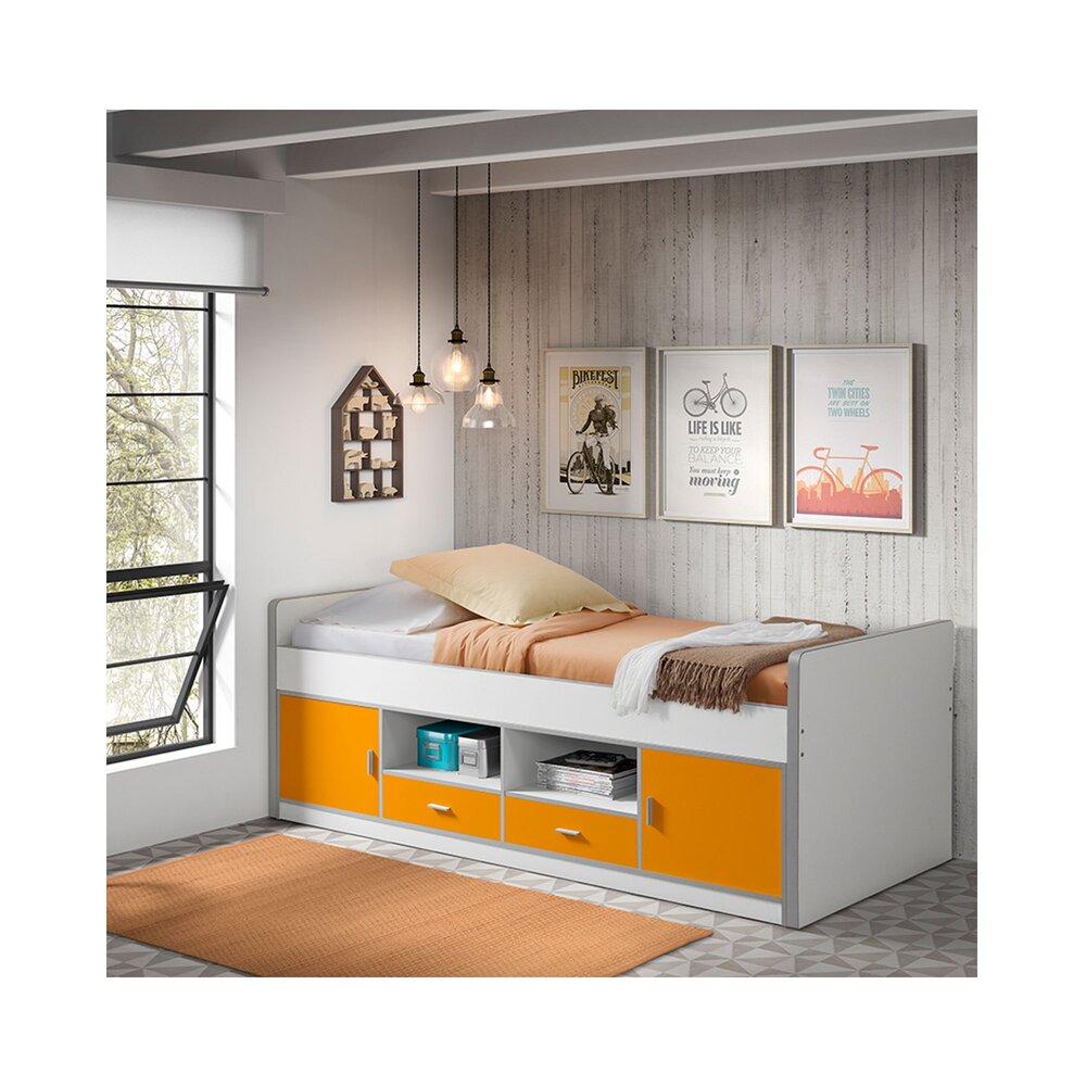 Lit enfant - Lit 90x200 cm avec rangements orange - ASSIA photo 1