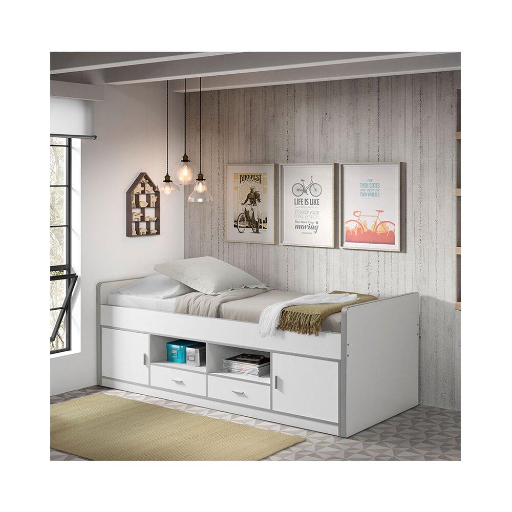 Lit 90x200 Cm Avec Rangements Blanc Assia Maison Et Styles
