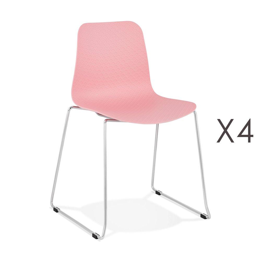 Chaise - Lot de 4 chaises repas 55x50x82,5 cm rose - LAYNA photo 1