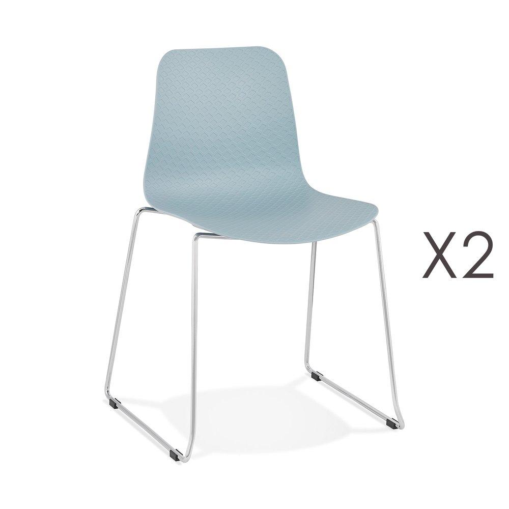 Chaise - Lot de 2 chaises repas 55x50x82,5 cm bleu - LAYNA photo 1