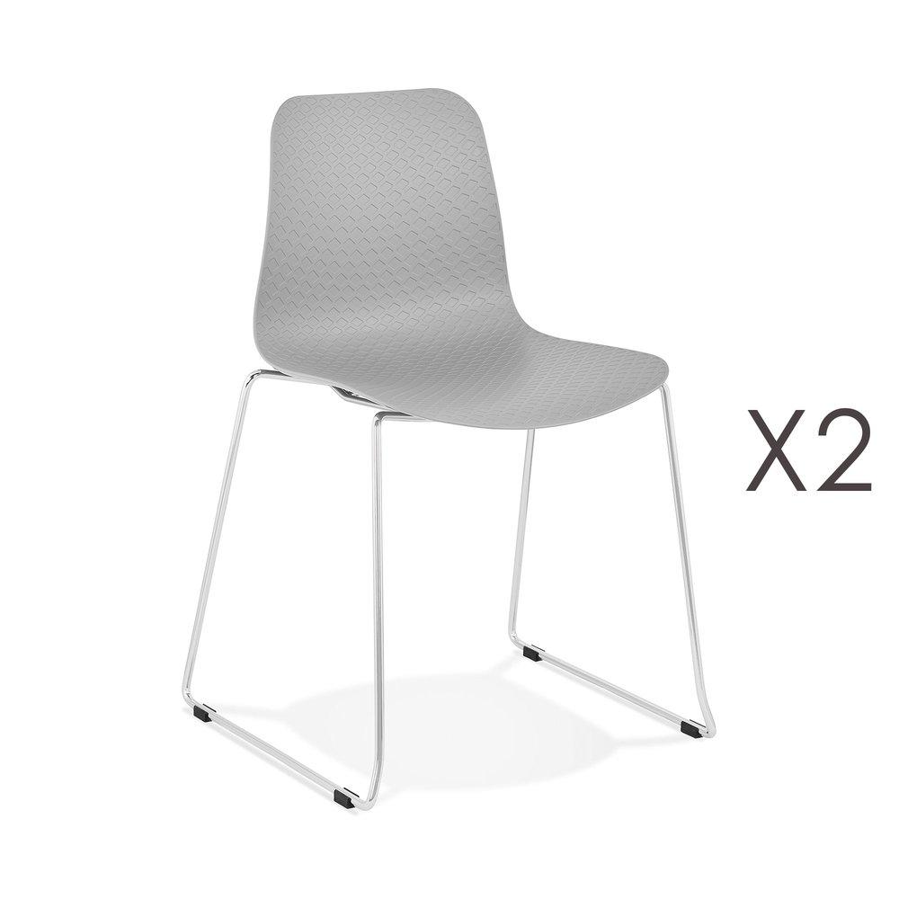 Chaise - Lot de 2 chaises repas 55x50x82,5 cm gris - LAYNA photo 1