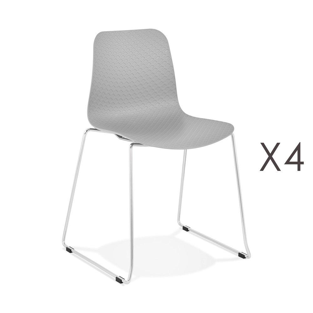 Chaise - Lot de 4 chaises repas 55x50x82,5 cm gris - LAYNA photo 1