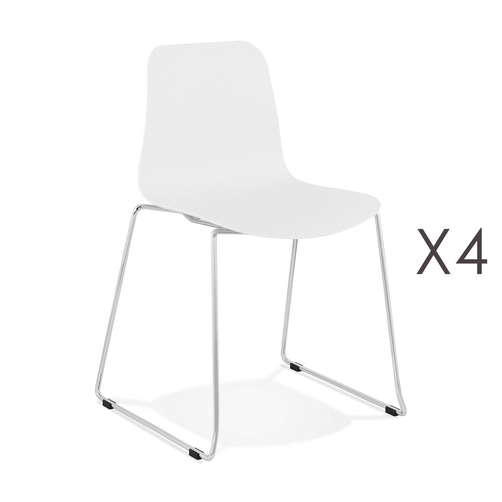 Chaise - Lot de 4 chaises repas 55x50x82,5 cm blanc - LAYNA photo 1