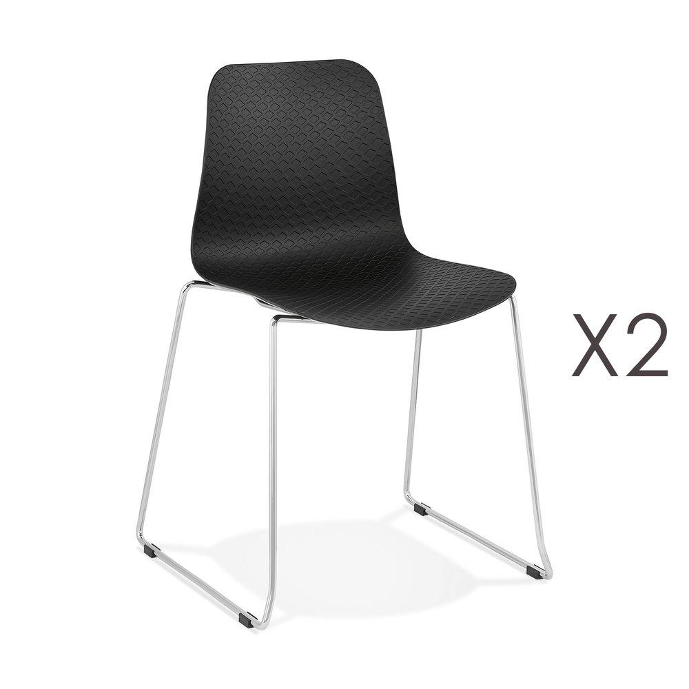 Chaise - Lot de 2 chaises repas 55x50x82,5 cm noir - LAYNA photo 1