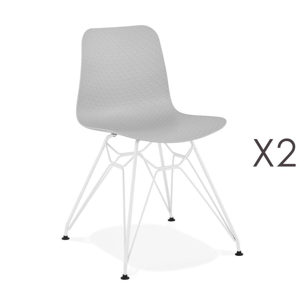 Chaise - Lot de 2 chaises repas grises et pieds blancs - FANIE photo 1