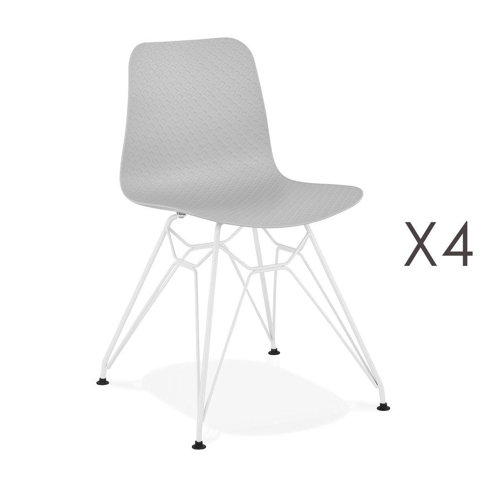 Chaise - Lot de 4 chaises repas grises et pieds blancs - FANIE photo 1