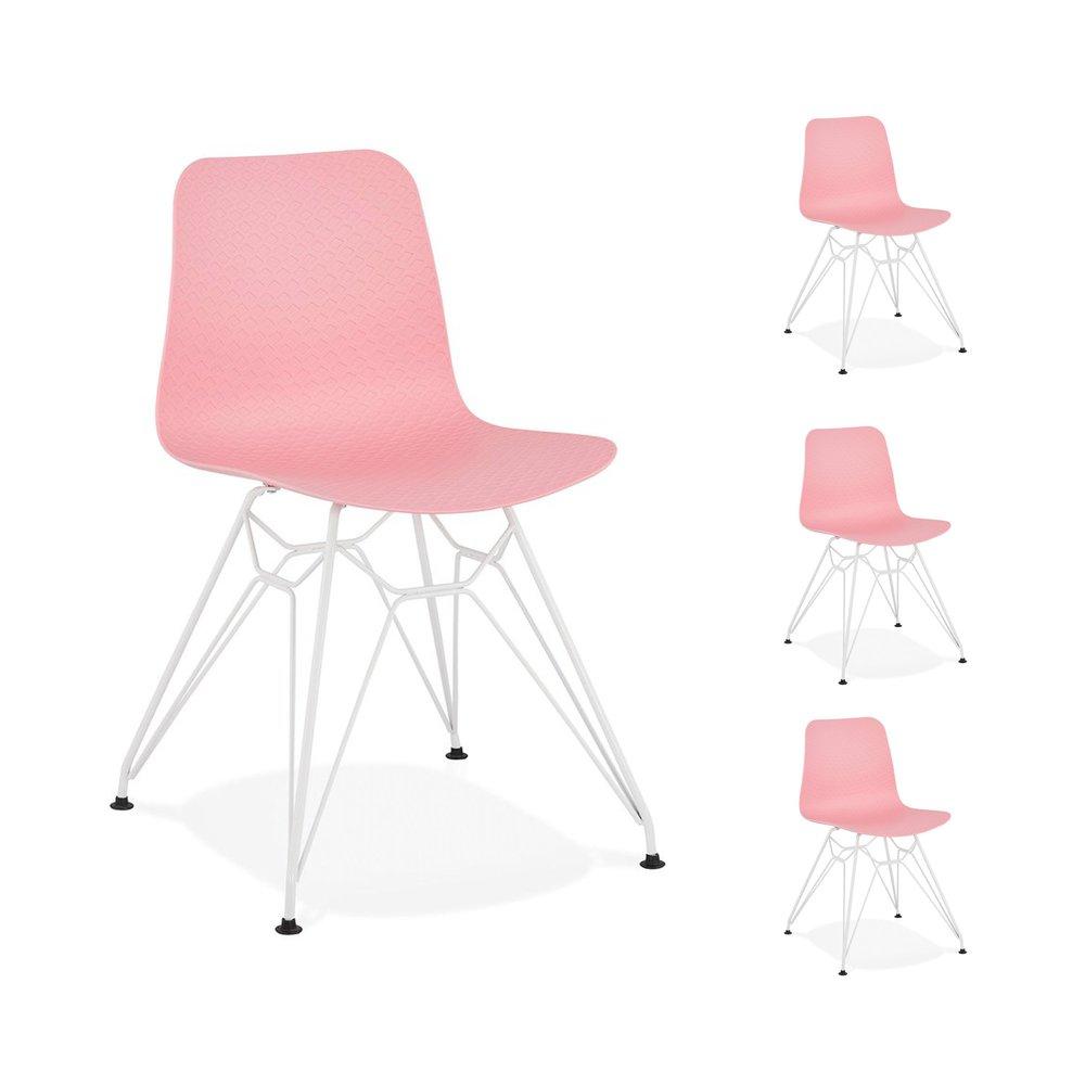 Chaise - Lot de 4 chaises repas roses et pieds blancs - FANIE photo 1