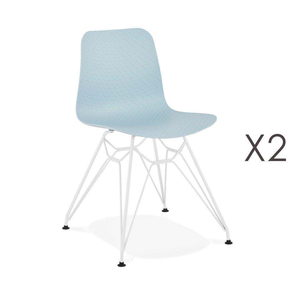 Chaise - Lot de 2 chaises repas bleues et pieds blancs - FANIE photo 1