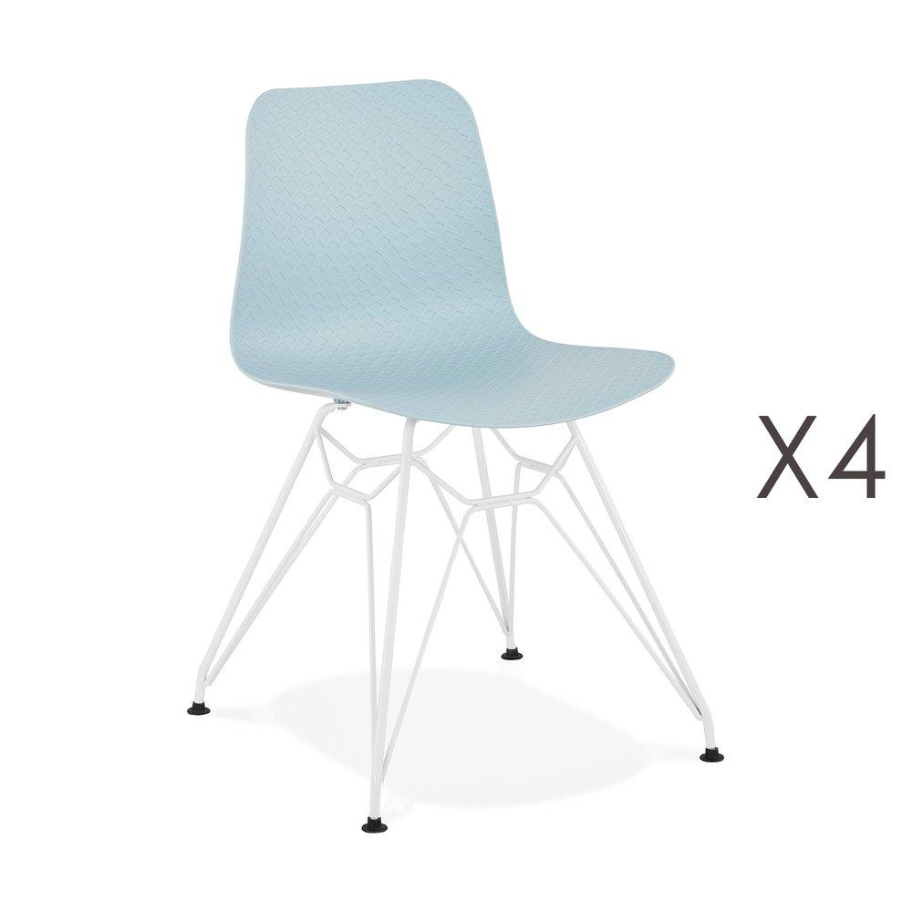 Chaise - Lot de 4 chaises repas bleues et pieds blancs - FANIE photo 1