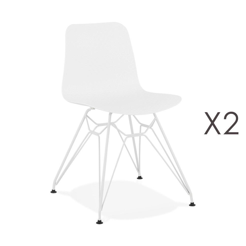 Chaise - Lot de 2 chaises repas blanches et pieds blancs - FANIE photo 1