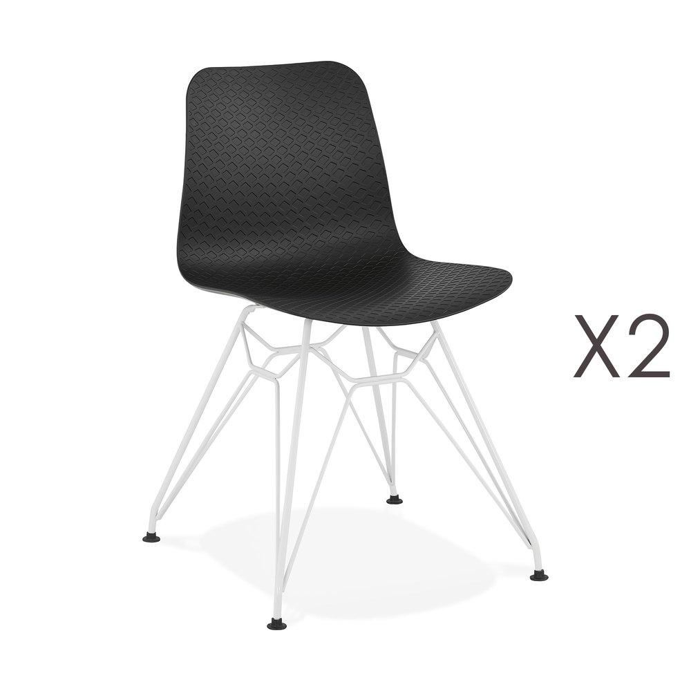 Chaise - Lot de 2 chaises repas noires et pieds blancs - FANIE photo 1