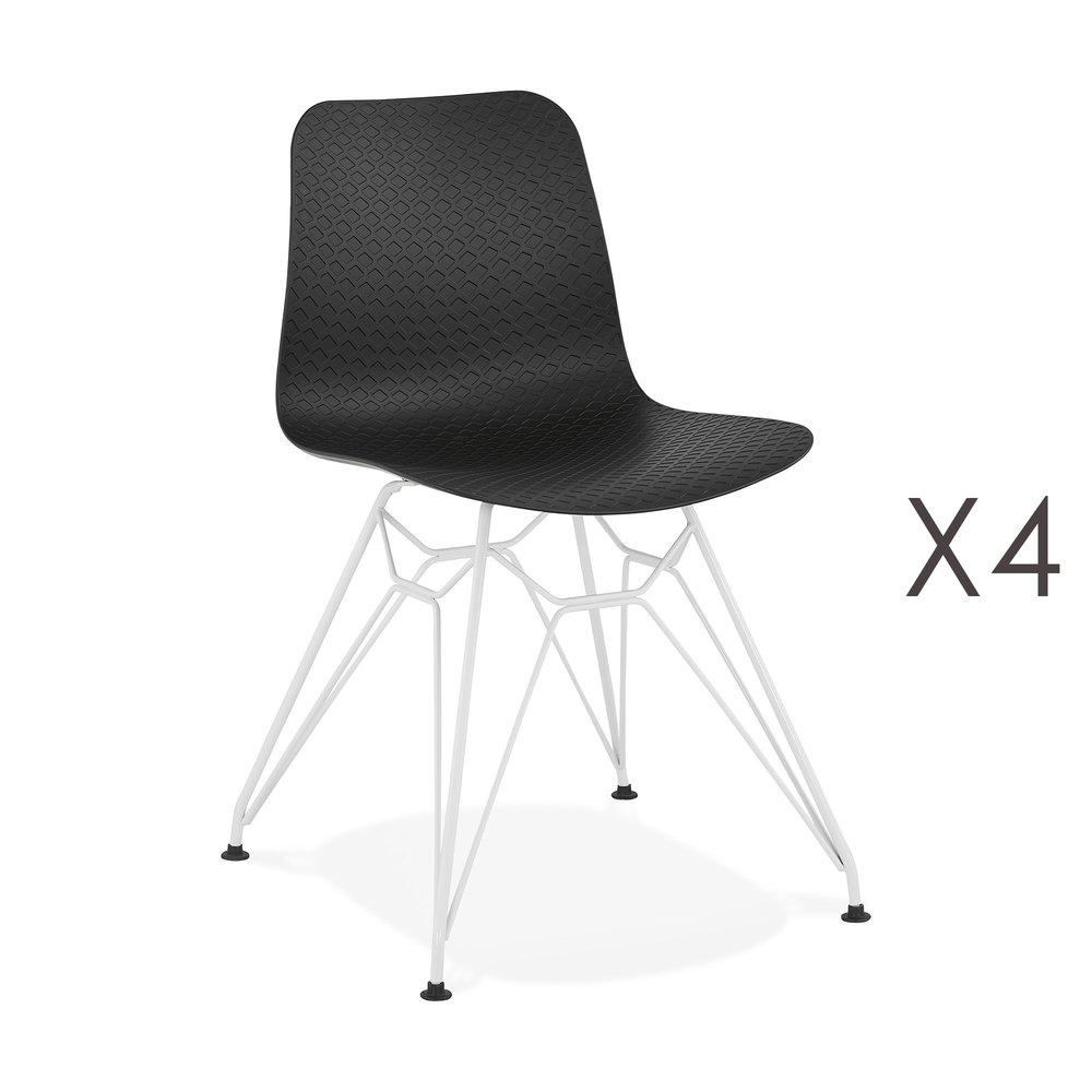 Chaise - Lot de 4 chaises repas noires et pieds blancs - FANIE photo 1