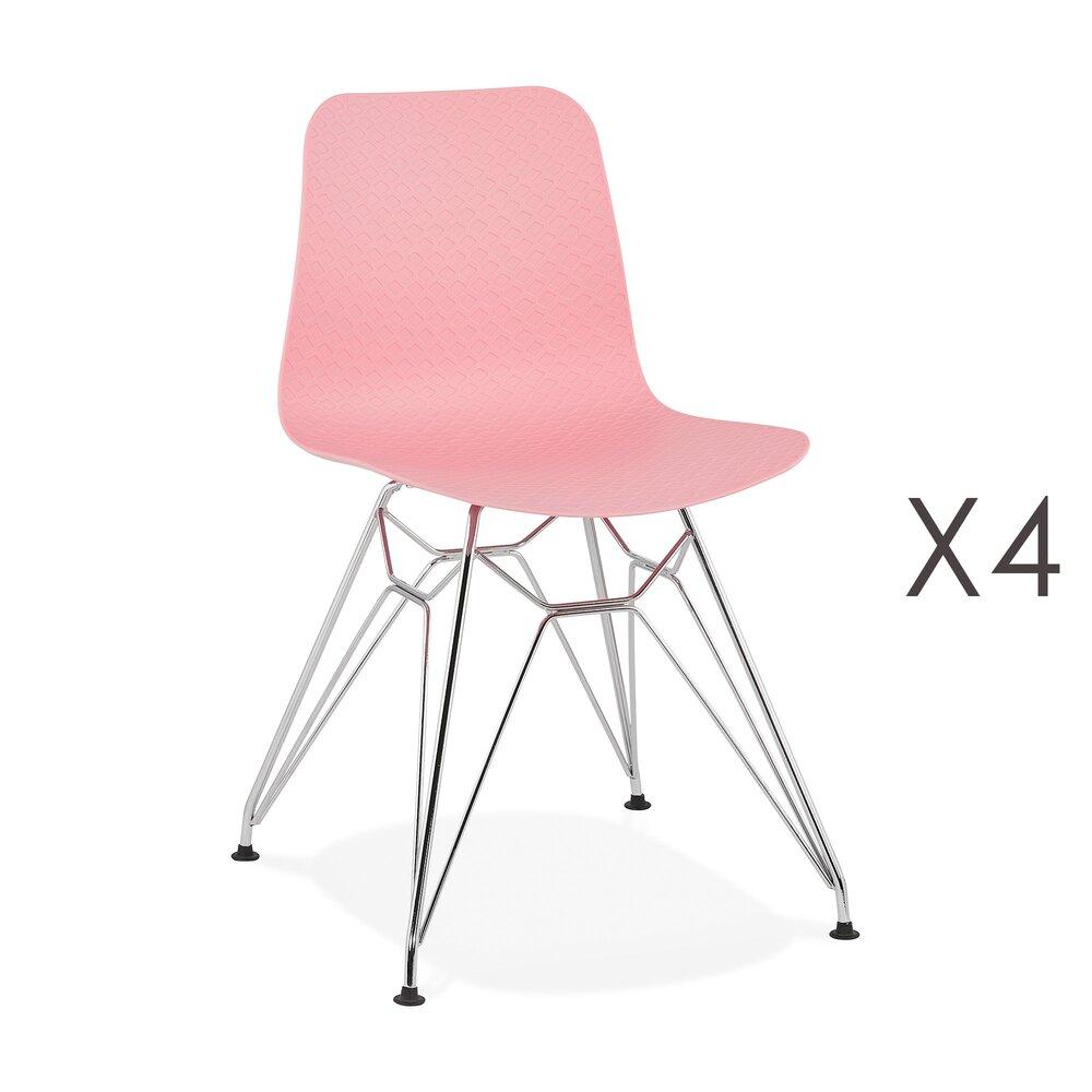 Chaise - Lot de 4 chaises repas roses et pieds chromé - FANIE photo 1