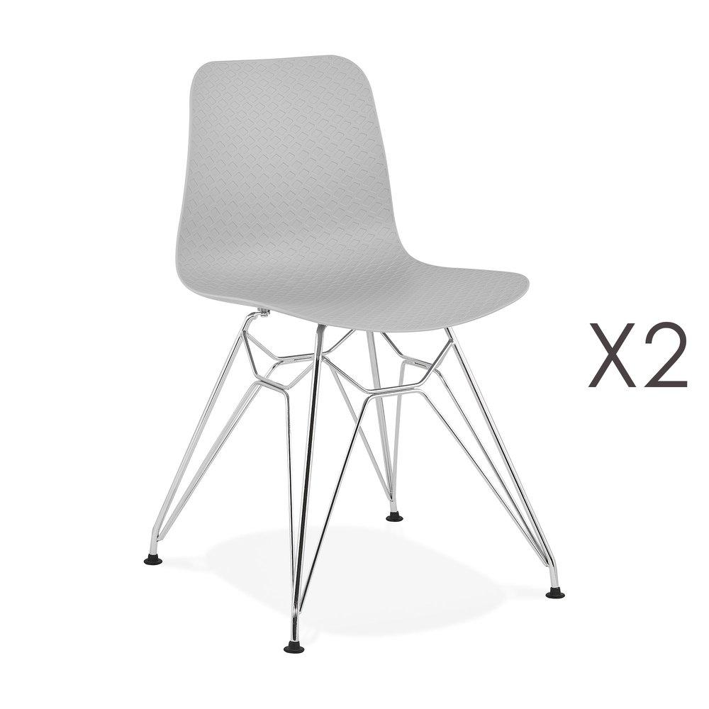 Chaise - Lot de 2 chaises repas grises et pieds chromé - FANIE photo 1