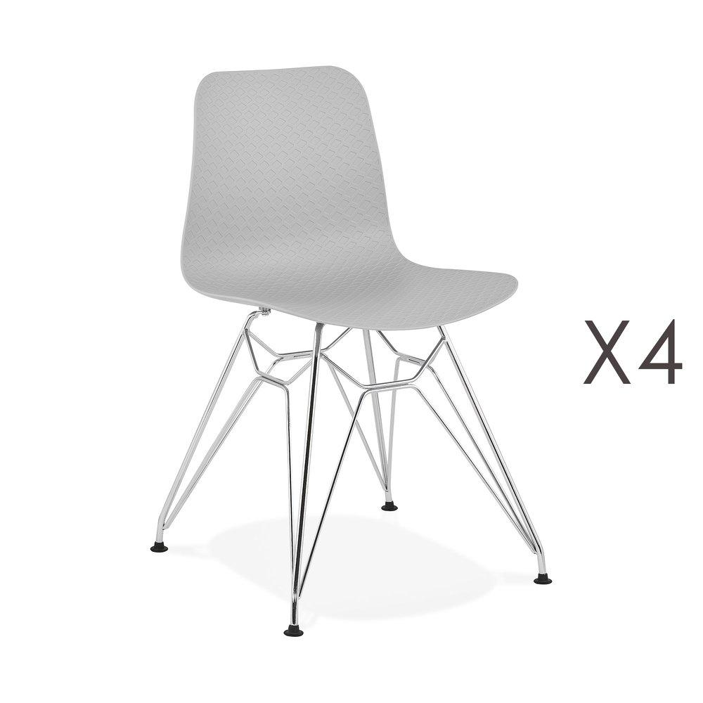 Chaise - Lot de 4 chaises repas grises et pieds chromé - FANIE photo 1