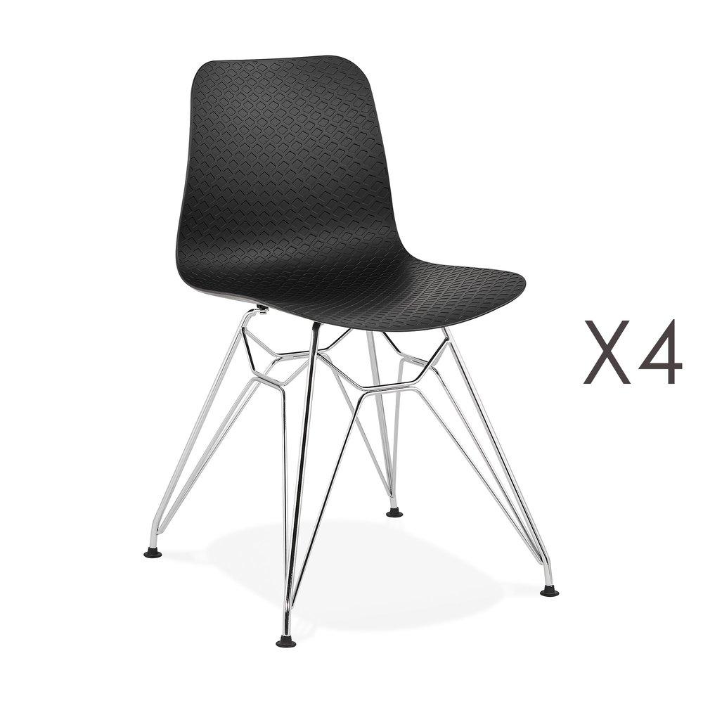 Chaise - Lot de 4 chaises repas noires et pieds chromé - FANIE photo 1