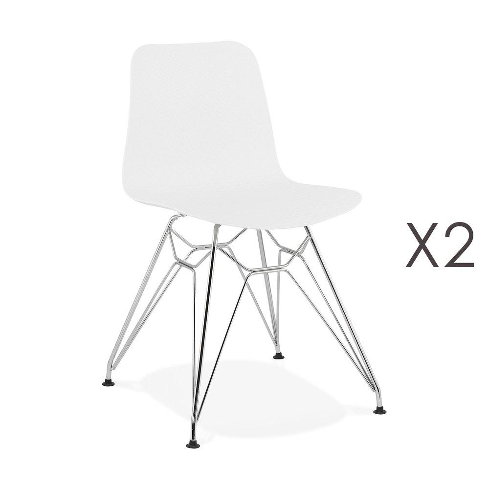 Chaise - Lot de 2 chaises repas blanches et pieds chromé - FANIE photo 1