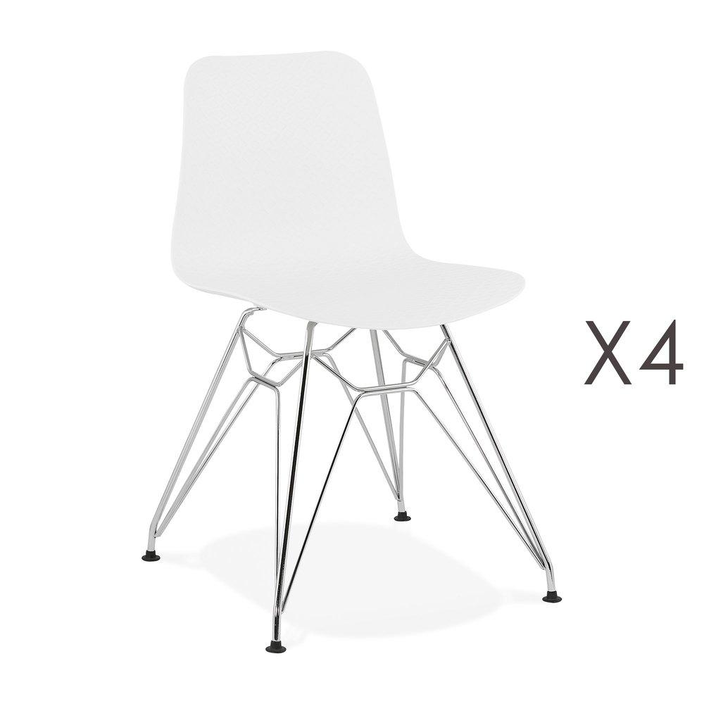 Chaise - Lot de 4 chaises repas blanches et pieds chromé - FANIE photo 1