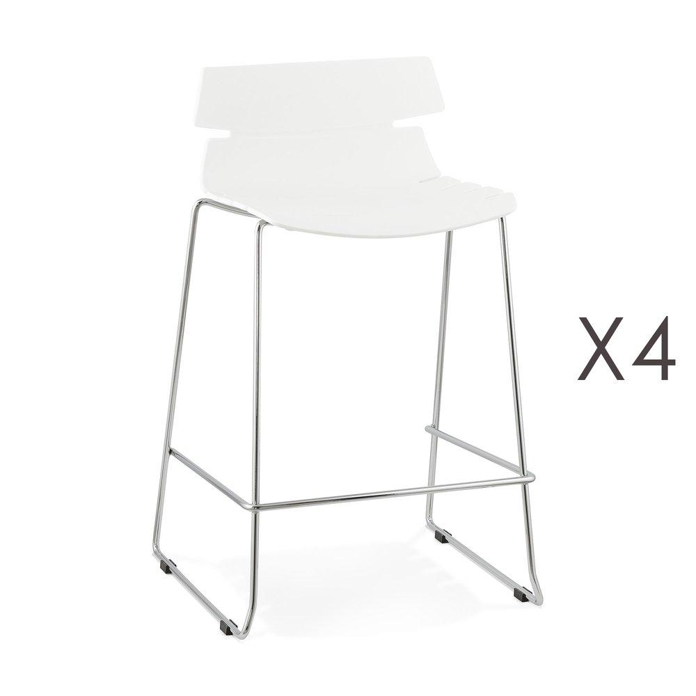 Tabouret de bar - Lot de 4 tabourets de bar 47x51x85 cm blanc - DORIA photo 1