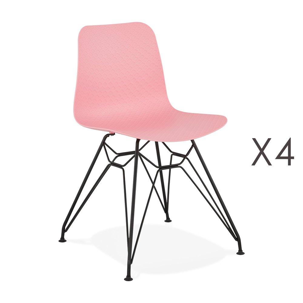 Chaise - Lot de 4 chaises repas roses et pieds noirs - FANIE photo 1