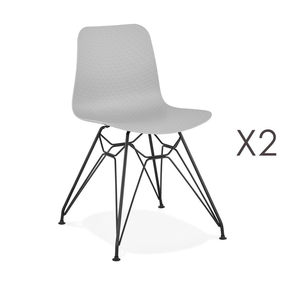 Chaise - Lot de 2 chaises repas grises et pieds noirs - FANIE photo 1