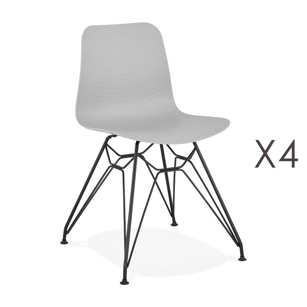 Chaise - Lot de 4 chaises repas grises et pieds noirs - FANIE photo 1