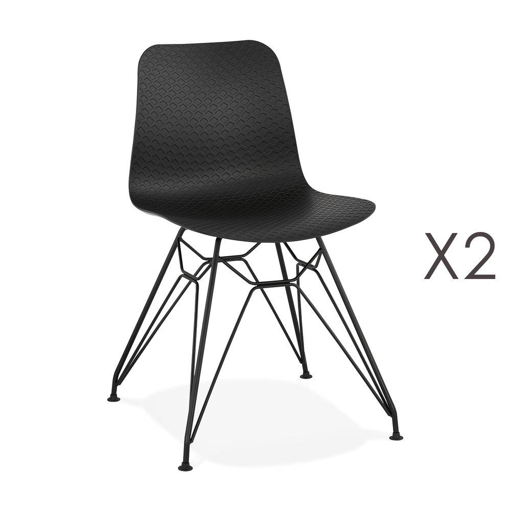 Chaise - Lot de 2 chaises repas noires et pieds noirs - FANIE photo 1