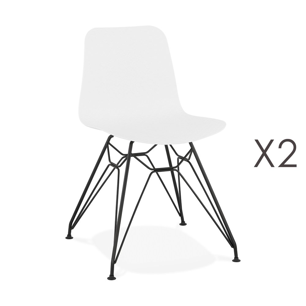 Chaise - Lot de 2 chaises repas blanches et pieds noirs - FANIE photo 1