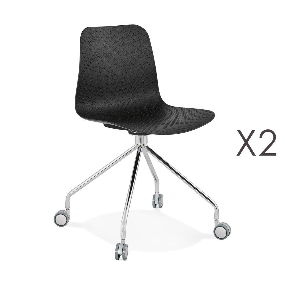 ORTALMaison chaises Styles 2 noires Lot roulettes et de à wONmv8n0