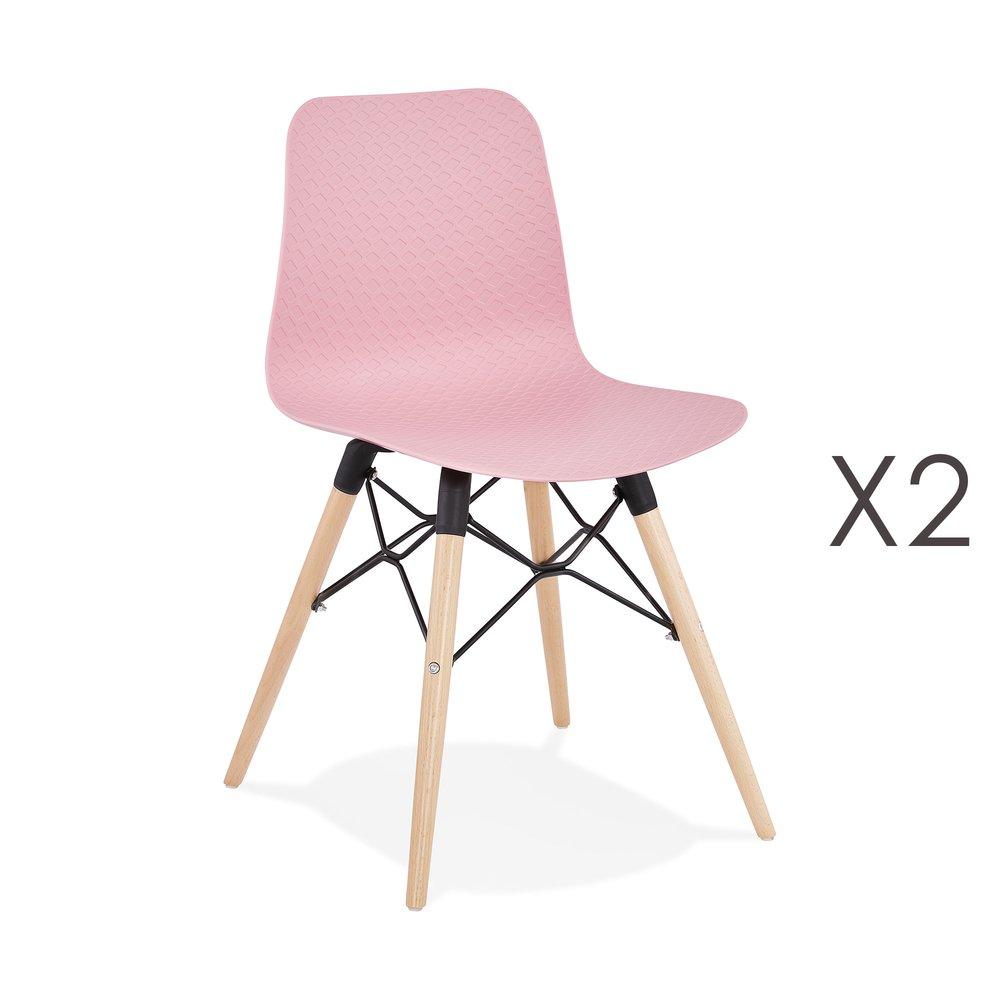 Lot de 2 chaises repas roses et pieds naturel YAREN