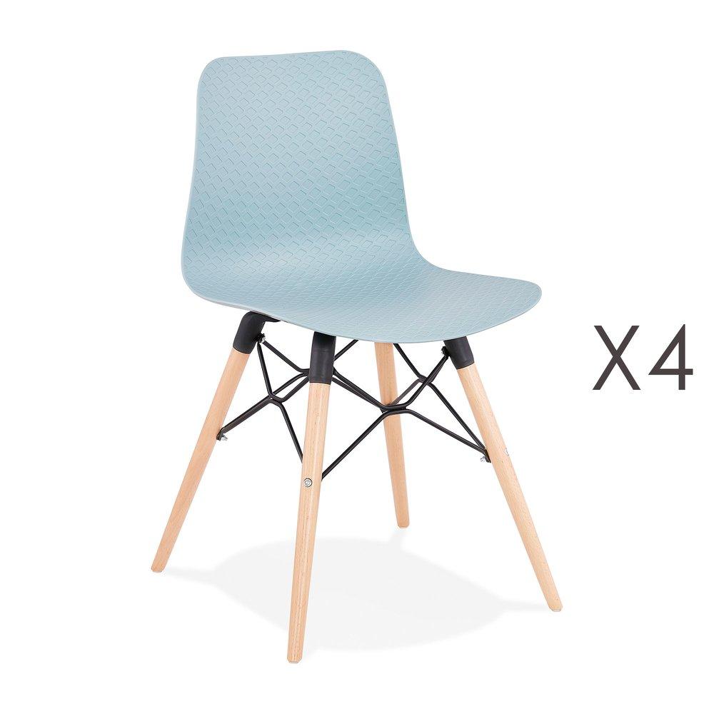 Chaise - Lot de 4 chaises repas bleues et pieds naturel - YAREN photo 1