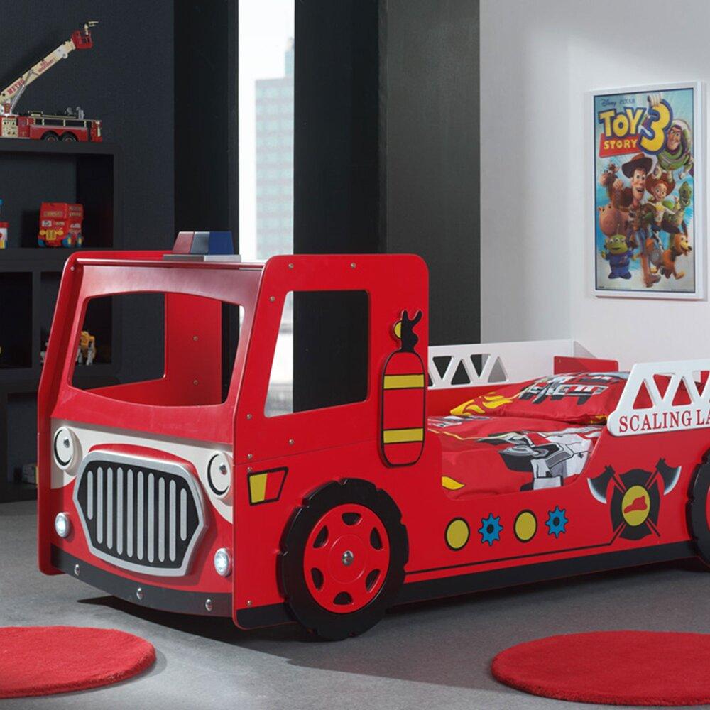 Lit - Lit camion de pompier 90x200 cm + matelas rouge - FIRE photo 1