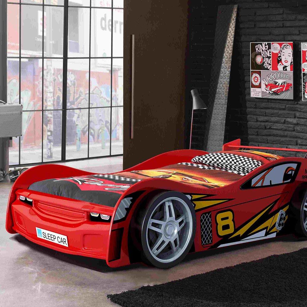 Lit - Lit voiture 90x200 cm rouge - CARINO photo 1