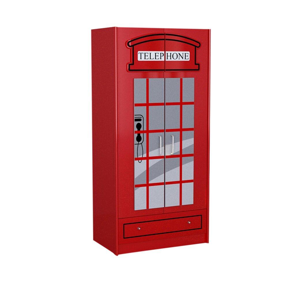 Armoire - Armoire cabine téléphonique  90x56x190 cm rouge - CARINO photo 1
