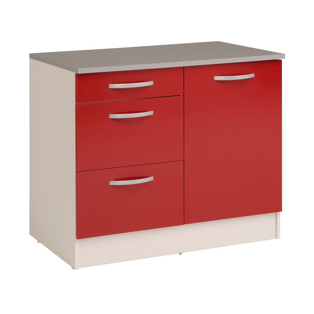 Organiser Meuble Sous Evier meuble sous évier 100x60x86 cm rouge et gris - marina