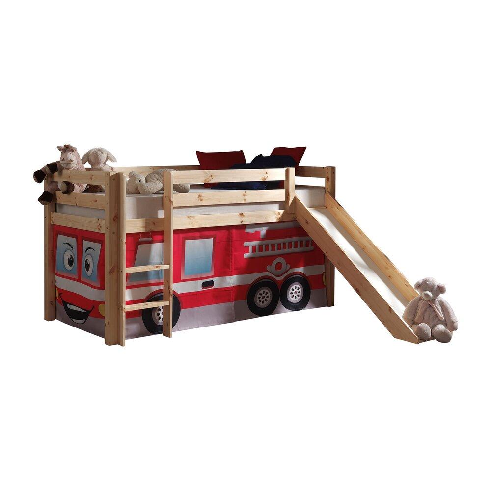 Lit enfant - Lit surélevé 90x200 cm avec toboggan naturel décor pompier - PINO photo 1