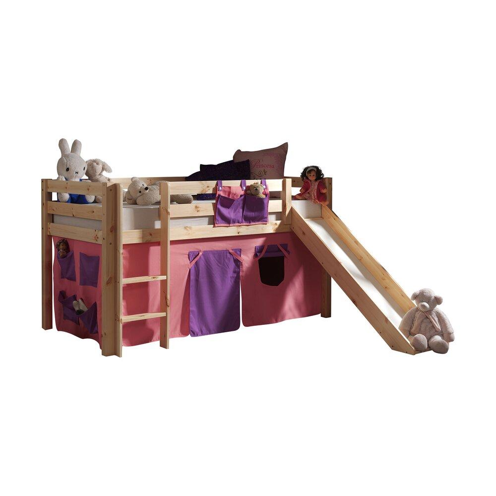 Lit enfant - Lit surélevé 90x200 cm avec toboggan naturel décor rose - PINO photo 1
