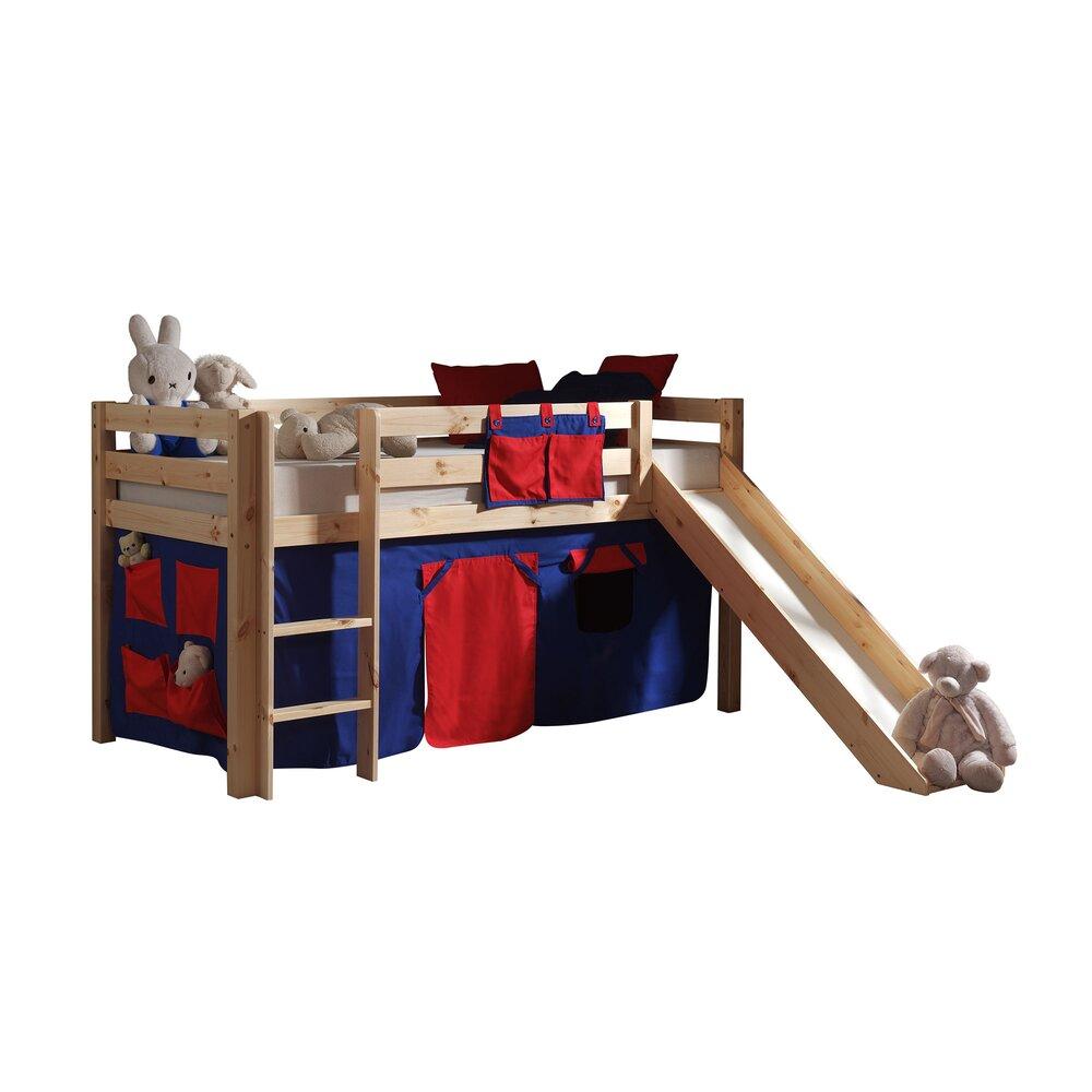 Lit enfant - Lit surélevé 90x200 cm avec toboggan naturel avec décor bleu et rouge photo 1